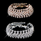 2017Hot Luxury Noble Women Bridal Gold Silver Plated Crystal Charm Bracelet Gift