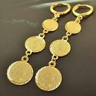 Arab style 9K Yellow Gold Filled Womens Coin Dangle Earrings,Z3931