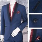 Scott Prom Evening Contrast Shawl Lapel 1 Button Slim Fit Suit Blue