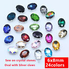 30p color Rhinestone 6x8mm Sewing On Faceted Crystal glass Oval Stone Dress bead