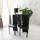 4 X High Back PU Leather Dinning Chairs with Chrome Legs,Black/White Dining Room