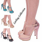 WOMENS LADIES HIGH HEEL PEEP TOE ANKLE STRAPPY PARTY SANDALS GLITTERY SHOES SIZE