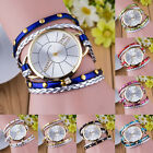 Fashion Women Wrap Braided Faux Leather Rivet Analog Quartz Bracelet Wrist Watch