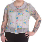HELL BUNNY Roslyn ~ 40s Grey Chiffon Floral Blouse ~ Plus Size Vintage Pinup 50s