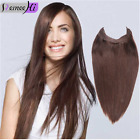 Fits like a Halo Invisible Wire Flip In No Clip Remy Human Hair Extensions Magic