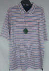 Mens Bobby Jones BJM23005 Run On Stripe Golfing Polo White Striped M L XL