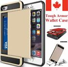 For Apple iPhone 6 6S 7 / 7 Plus Case - Hard Shockproof Tough Armor Wallet Cover <br/> iPhone SE 5 5S,CANADIAN STOCK,Fits 2 Cards!