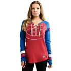 Montreal Canadiens Women's Red Vintage Hip Check Lace Up V-Neck Shirt