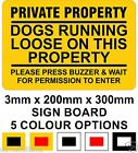 Dogs Running Loose Private Property Ring Bell 20cm x 30cm Rigid Signboard