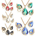 UP 3PCS/Set Women's Necklace Earrings Ring Peacock Crystal Rhinestone Chain Set