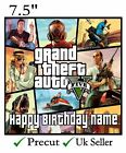 Grand Theft Auto 5 GTA  Personalised Edible Icing Cake Topper Square Round Rec