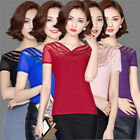 New Fashion Women Short Sleeve Shirts V-neck Mesh Tops Casual Slim Solid Blouses