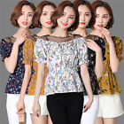 New Women Short Sleeve Floral Shirts Splice Mesh Boat-neck Tops Chiffon Blouses