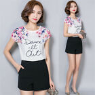 New Elegant Women's Short Sleeve Shirts Floral Chiffon Tops Casual Loose Blouses