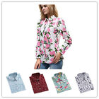 New Women Cotton Wild Long Sleeve Casual Shirt Colorful Printing Blouses Tops