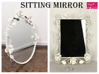 Ivory Metal Oval / Square Sitting Mirror Vintage Bathroom Home Decoration Gift
