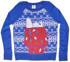Peanuts Snoopy Christmas Sweater Sweatshirt Pullover Long Sleeve Junior Top Blue