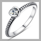Women's Silver Heart Ring Slim Band Cubic Zirconia Brand New Various Sizes