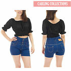 LADIES WOMENS HIGH WAISTED DENIM HOT PANTS  BLUE  BUTTON UP JEANS SHORTS 6 8 10