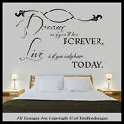 Wall Stickers Quotes, Decals, Wall Art Graphics, Bedroom Murals, Dream Forever