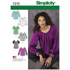 Simplicity 1315 Sewing Pattern Misses 6-22 Pullover Blouse Sleeve Trim Variation