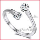 9CT WHITE GOLD GF LADY SOLID WEDDING ETERNITY DRESS CRYSTAL TWIST BAND RING GIFT
