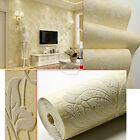 Floral 3D Embossed Textured Non-woven Flocking Wallpaper Wall Paper Rolls 10m