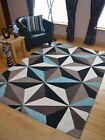 Small Extra Large Modern Duckegg Blue Brown Triangle Design Floor Carpet Mat Rug