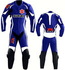 Suzuki Blue GSXR Motorcycle Leather Suit MotoGp Sports Motorbike Rider Suit