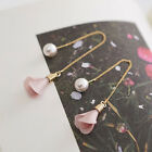 Fashion Womens Gold Silver Plated Crystal Flower Drop Long Dangle Chain Earrings