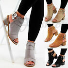 New Womens Mid Block Heel Sandals Peep Toe Buckle Ankle Strap Comfy Shoes Sizes