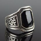 Silver Tone Signet Ring with Black Onyx Style Face - Steampunk Goth Victorian
