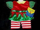 Build A Bear Workshop Christmas Clothing Girl Elf Outfit 1pc Red /White /Green