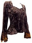 Karida brown crushed velvet boho goth top lace bell sleeves szs 10 to 16