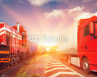 Bild auf Poster:   freight train and truck as transportation concept