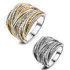 Two-Tone Punk Rock Statement Layers Ring 18K GP Gift Party Accessories Hot R1643