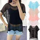 Women's Mesh Fishnet Tops Blouse Hollow Out Short Sleeve Loose Casual T-shirt