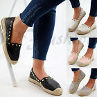 New Womens Flat Casual Espadrilles Studded Slip On Ballerinas Summer Shoes Sizes