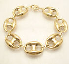 19mm Mens Bold Puffed Mariner Gucci Link Chain Bracelet Real 10K Yellow Gold