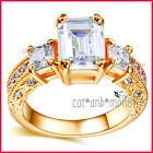 18K GOLD GF LADIES SOLID VINTAGE TRILOGY SQUARE WEDDING DERSS CRYSTAL RING GIFT
