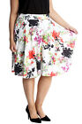 New Ladies Skirts Plus Size Womens Floral Print Skater Crepe Knee Long Nouvelle