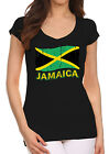 New Junior's Distressed Jamaica Flag Black V-Neck T Shirt Jamaicans Rasta Pride