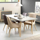 Dining Table in White Washed Oak & Chairs in 2 Colours With Solid Oak Legs