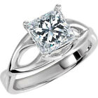 1 Carat Princess Cut Enhanced Diamond Solitaire Engagement Ring 14K White Gold