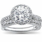 2 1/2ct Halo Solitaire Diamond Engagement Vintage Matching Wedding Ring Set Gold