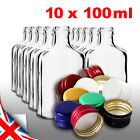 10 pocket flask bottles 100ml with color screw caps for wine, whisky or spirits