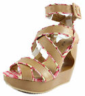 Used, New Qupid Lisbeth 01 Tan Criss Cross Wedge Platform Open toe Sandals 5.5-10 for sale  Shipping to Nigeria