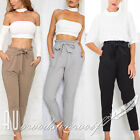 Women Fashion Chffion High Waist OL Pants With Bow Elastic Pencil Trousers S-XL