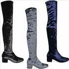 Ladies Womens Flat Over The Knee High Stretch Velvet Block Heel Thigh High Boots