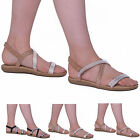 WOMENS LADIES SUMMER EVENING DIAMANTE SANDALS BEACH HOLIDAY PARTY SHOES SIZE